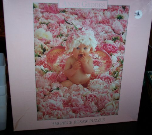 (Factory Sealed) Anne Geddes 550 Piece Puzzle Baby in Middle of Pink white Flowers (1999) by Ceaco