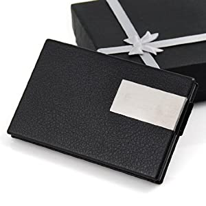 Slim Designer Engravable Cards Holder Credit Business Name Card Case Black Faux Leather With Gift Box