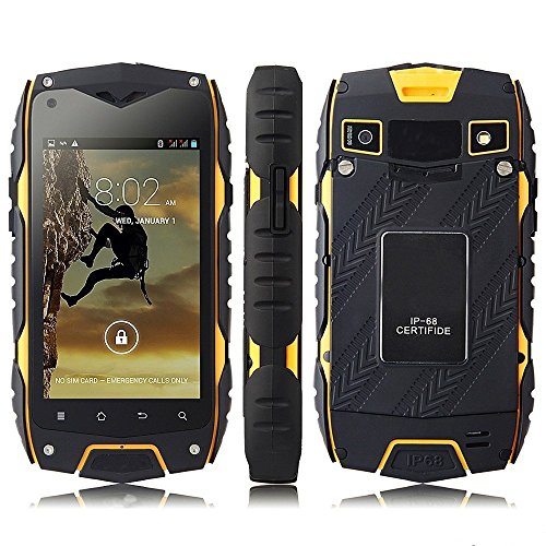 """Z6 IP68 Tri-proof impermeabile Shockproof antipolvere Android 4.2 MTK6572 Dual Core 1.2GHz 512MB RAM 4GB di ROM 4.0 """"800 x 480 pixel capacitivo IPS schermo di tocco WCDMA 8.0MP Camera / GSM 3G Bussola GPS Smartphone (giallo)"""