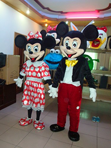 [Gujin Cartoon Character Mickey and Minnie Mouse Mascot Adult Costume (One size, Couple)] (Mickey And Minnie Costumes Adults)