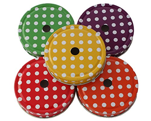 Straw Hole Tumbler Lids for Regular Mouth Mason Jars (Polka Dots, Set of 5)