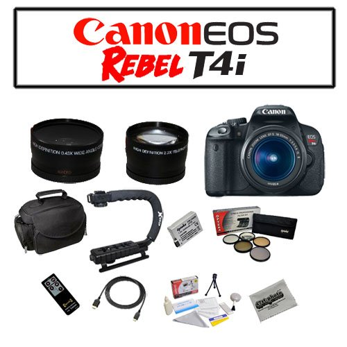 Canon EOS Rebel T4i Digital Camera with EF-S 18-55mm f/3.5-5.6 IS II Lens with Starters Bundle Kit Including Opteka Microfiber Deluxe Camera Gadget Bag, Opteka X-GRIP Professional Camera / Camcorder Action Stabilizing, Opteka .43x High Definition Wide Angle With Macro & 2.2x Telephoto Lens Kit and MORE!