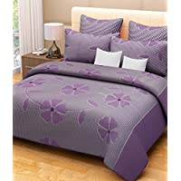 Elegance Floral Design Purple Double Bedsheet With Two Pillow Cover