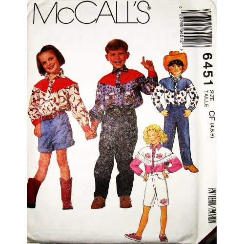 Western Sewing Patterns Mccall's Sewing Pattern 6451