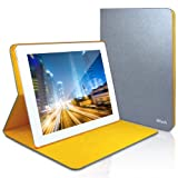 JETech® Diamond 2 Serial Folio Leather Smart Cover iPad Case for Apple iPad 2, iPad 3, and the New iPad 4 with Built-in Stand and Front/Back Protection (Latest Version with Built-In Magnet for Sleep/Wake Feature) (Silver/Yellow)