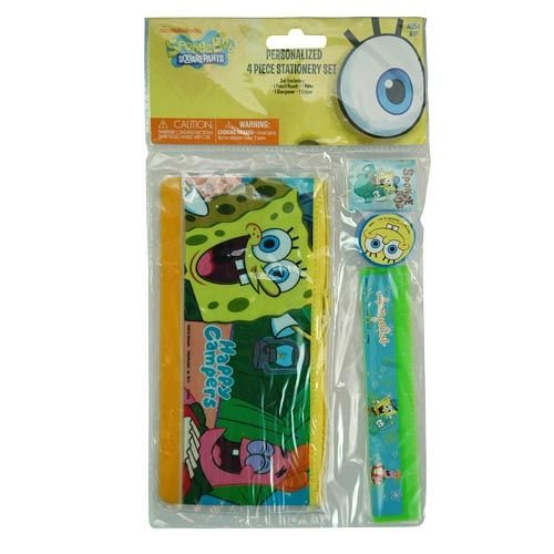 Sponge Bob 4 Piece Personalized Study Kit/stationery Set, School Supplies with Ruler, Pencil Pouch, Sharpener, and Eraser