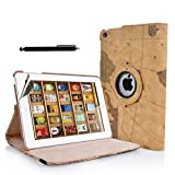 New 360 Degree Rotating Map Design Stand Case Cover for Apple iPad Mini with Magnetic Sleep Wake Sensor + Free Screen Protector & Stylus Pen (Design 1)