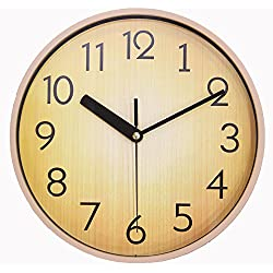 JustNile Retro Country-Style Round Silent Wall Clock - 10-inch Pale Wood Brown