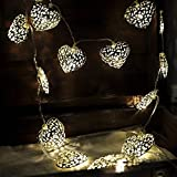 Warm white Solar Powered String Lights 5M 20 LED iron heart-shaped for Outdoor Garden Fence Patio Christmas Party Wedding Decoration.