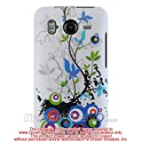 White with Blue & Green Spring Flowers Rubberized Snap on Hard Skin Shell Protector Cover Case for HTC Inspire 4G Android Phone (AT&T)