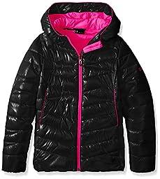 Spyder Big Girls\' Timeless Down Hooded Puffer Coat, Black, X-Large