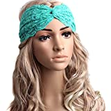SEADEAR Women's Lace Retro Fashion Elastic Twisted Knotted Turban Head Wrap Headband Hair Band(Green)