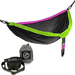 Flash Sale! Explore Outfitters PRO Nylon Double Hammock (Large) Free Tree Straps - Best Portable Parachute Hammock For Camping, Travel, Outdoors, Backpacking (Gray/Purple/Green)