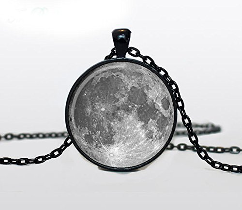 Moon Pendant Full Moon Necklace Space Galaxy Moon Necklace for Men Art Gifts for Her