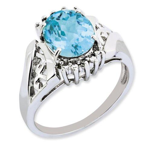 Sterling Silver Blue Topaz & Oval Diamond Ring