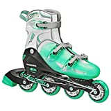 Roller Derby Women's V-Tech 500 Button Adjustable Inline Skate, Mint, Size 6-9