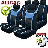 SB203 - Qualität Auto Sitzbezug Sitzbezüge Schonbezüge Schonbezug mit Seitenairbag Schwarz / Blau