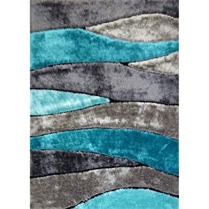 Amazon Com Turquoise Gray Modern Hand Carved Shag Area