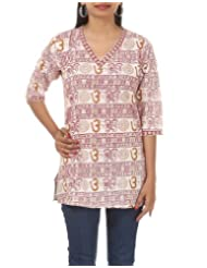 Rajrang Hand BLock Printed Cotton CasuaL Wear Indian Short Kurta BLouse Top Size L