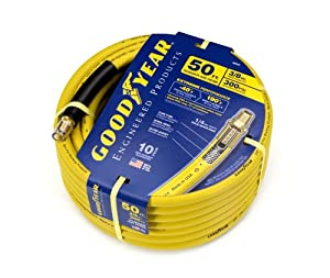 Goodyear EP 46545 3/8-Inch by 50-Feet 300 PSI Rubber Air Hose with 1/4-Inch MNPT Ends and Bend Restrictors