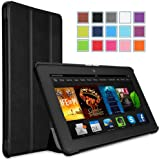 """MoKo Amazon Kindle Fire HDX 7"""" Case - Ultra Slim Lightweight Smart-shell Stand Case for Amazon New Kindle Fire HDX 7.0 Inch 2013 Generation Tablet, BLACK (With Smart Cover Auto Wake / Sleep Feature. WILL NOT Fit Fire HD 7 2012, Fire HD 7 2013 and Fire HD 7 2014)"""