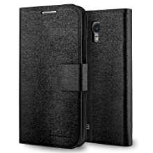 HHI Flip Wallet Case with Stand for Samsung Galaxy S4 BLACK with Built-in Magnet Flip Cover for Galaxy S4 Sleep and Wake Feature