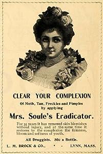 1902 Ad Mrs. Soule's Eradicator Skin Brock Pimple Cream - Original Print Ad