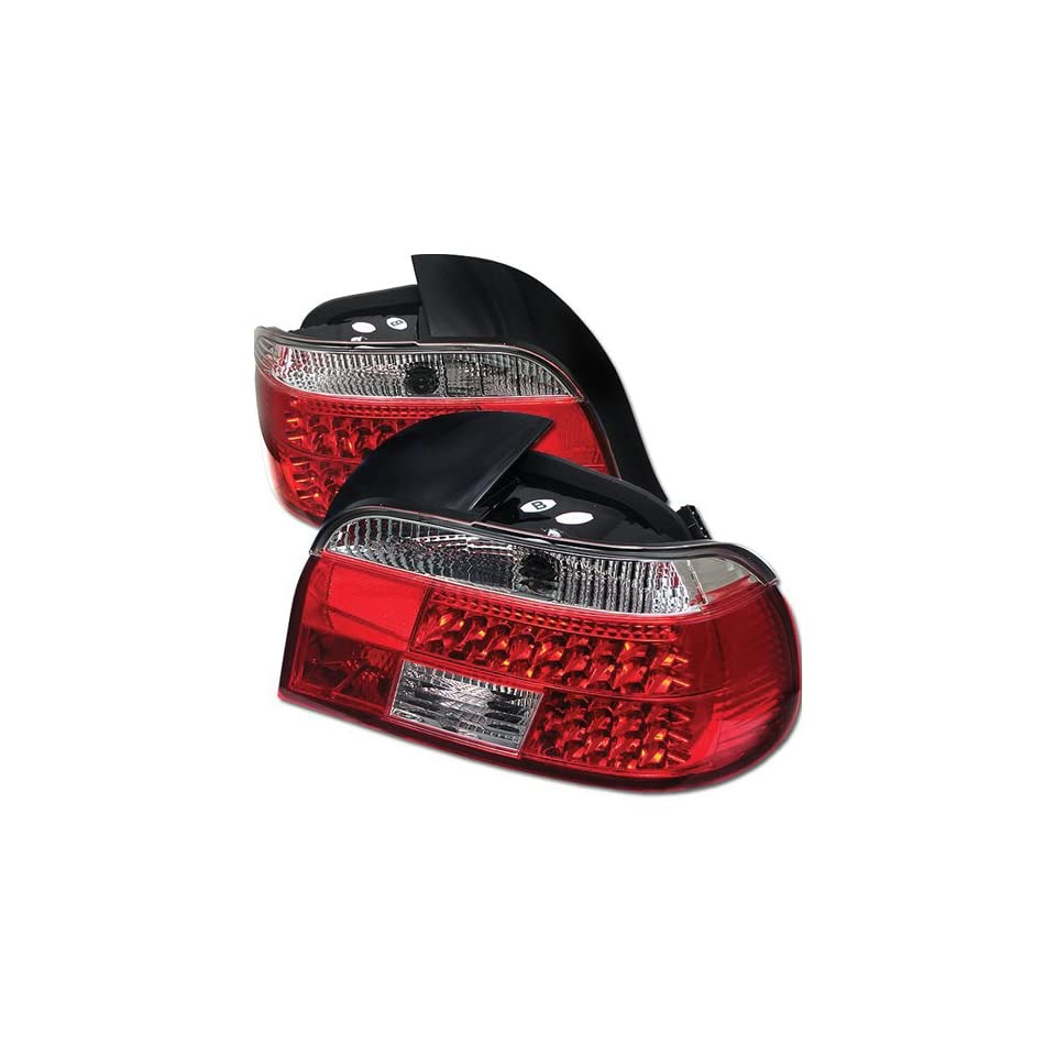 BMW E39 528i 540i M5 5 Series 97 98 99 00 LED Tail Lights + Hi Power White LED Backup Lights   Red Clear (Pair)