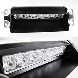 High Power White / Amber 8-LED Snow Plow Flash Strobe Warning Light Lamp Bar #72
