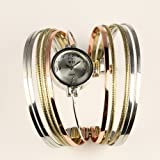 New Ladies Womens White Dial Stainless Steel Band Multi-Color Elegant Bracelet Quartz Watchby ESS