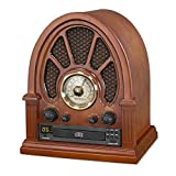 Victrola Vintage Wooden AM/FM Radio with Bluetooth and CD Player, Mahogany