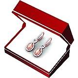 10K-Rose-Gold-Oval-Morganite-Round-White-Diamond-Ladies-Infinity-Dangling-Earrings