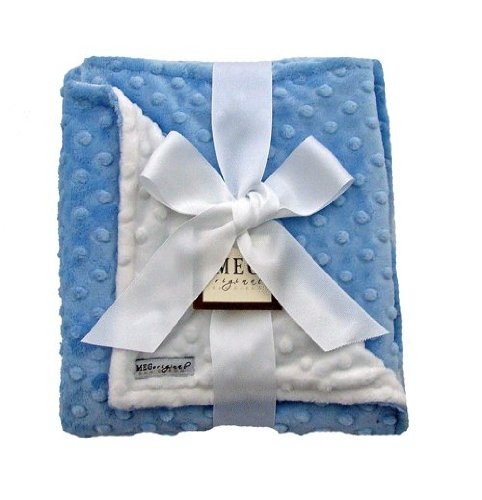 MEG Original Blue & White Minky Dot Baby Boy Blanket, 306