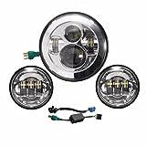 AUDEW 7インチ 丸型 クローム バイク用LEDヘッドライト+ 2個セット 4.5インチ ラウンド クローム フォグランプ LED補助灯 パッシングライト ハーレーダビッドソン対応