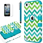 iPod Touch 5 case,ULAK® Hybrid Hard Pattern with Silicon Case Cover for Apple iPod Touch 5 Generation with Screen Protector and Stylus (Blue/Green Wave)