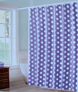 "Peri Shower Curtain Fabric Mariachi Purple and White Polka Dots 72"" X 72"""