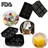 SySrion? Silicone Ice Cube Trays, Round Ice Cube Mold & Large Square Ice Cube Tray, Combo Silicone Molds - Ice Cube Tray Mold & Ice Sphere Mold
