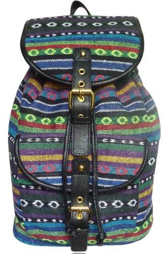 Ladies Hippy LYDC Retro Backpack Shoulder Bag Blue Black