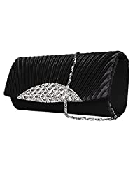 Vangoddy Anna Diamond Lady Clutch Wallet With Detachable Chain Shoulder Strap (Black)