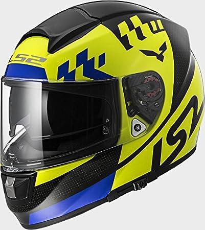 LS2 FF397 Vector Podium Hi Vis Yellow Black Motorcycle Helmet