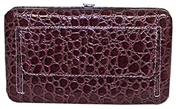 Texcyngoods Womens Croco Embossed Framed Flat Clutch Wallet with Checkbook Cover (Purple)