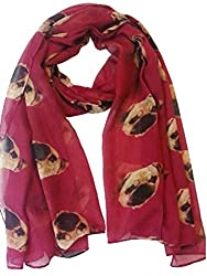 Colourful ~ Gorgeous Pug Dog Print Ladies Soft Scarf Wrap Pugs Scarves in DARK RED PUGS