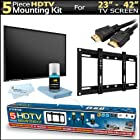 Flat Screen Fixed TV Wall Mount Bracket Bundle Kit For Samsung for 23-42-Inch Plasma LED LCD TV Includes Ultra Slim Flush Super Low Profile (1 inch from TV to Wall) + 2 6ft High Speed HDMI Cables + HDTV Cleaning Kit