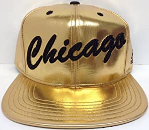 Golden Metallic NBA Chicago Bulls Adidas Snapback Hat Cap by NBA