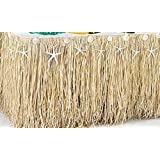 Raffia and Seashell Table Skirt (29 inch wide x 108 inch long)