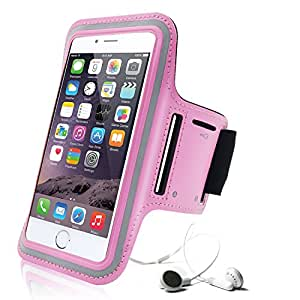 iPhone 6S Plus Armband, Aupek Slim Lightweight Sports Armband with Key Holder Scratch-Resistant Material Dual Arm-Size Slots Workout Arm Cover for Gym Jogging Running Riding Cycling (Pink)