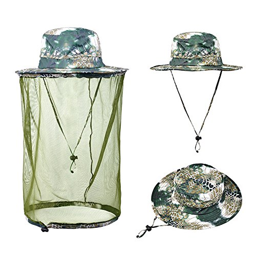 Ezyoutdoor Unisex Camouflage Outdoor Removable Anti-mosquito Polyester Boonie Hat with 360 Degree Head Face Neck Protection Net Mesh for Hiking Hunting Boating Fishing Camping (#001) (Aussie Camper Grill compare prices)
