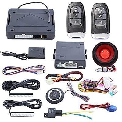 Smart Start Rolling Code PKE Car Alarm System Passive Keyless Entry W Push Button Start Stop Central Door Locking Automation