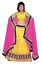 Pushty Fashion Yellow and Pink net Lehnga