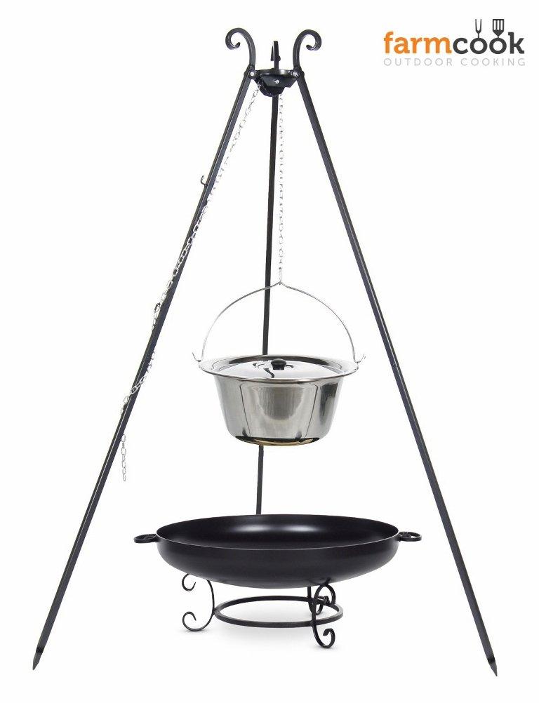 Dreibein Grill VIKING Höhe 180cm + Topf 10 Liter aus Edelstahl + Feuerschale Pan42 Durchmesser 60cm jetzt kaufen